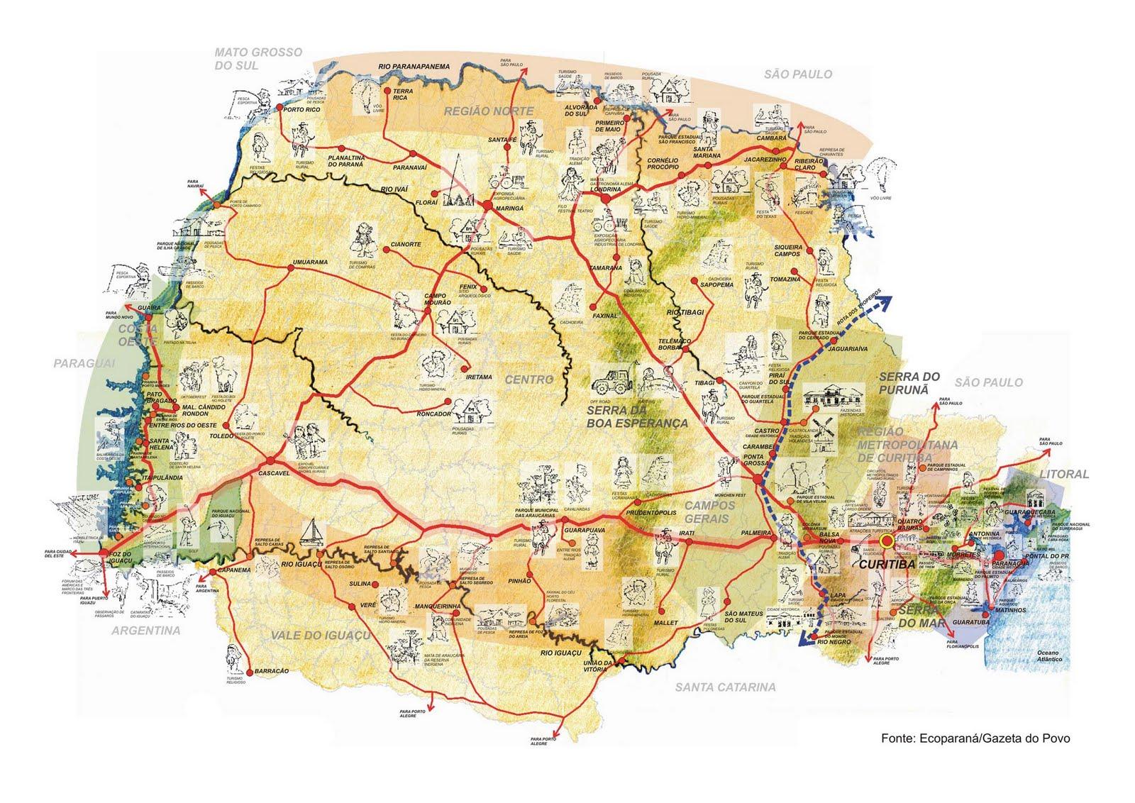 Mapa Turístico do Paraná