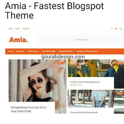 Amia - Fastest Blogspot Template