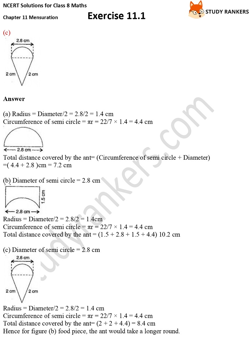 NCERT Solutions for Class 8 Maths Ch 11 Mensuration Exercise 11.1 4