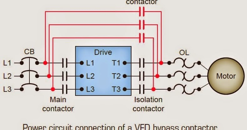 Power circuit connection of a VFD bypass contactor ~ Electrical