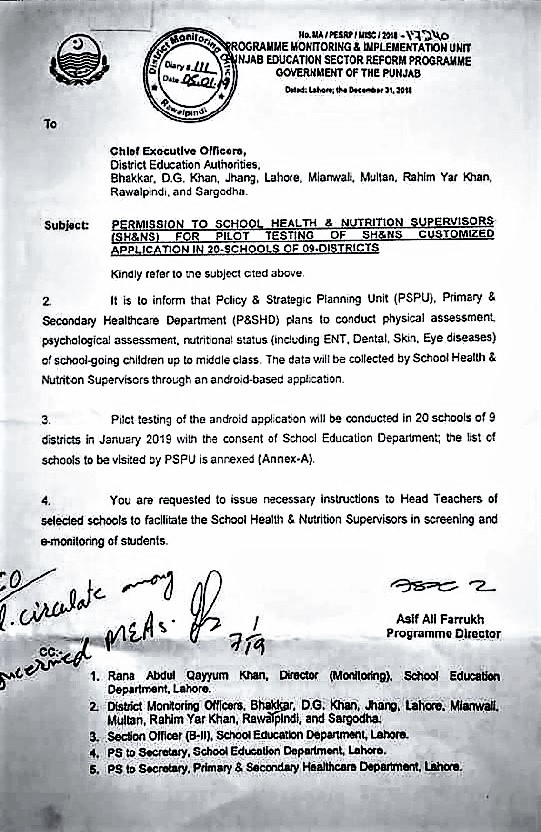 PERMISSION TO SCHOOL HEALTH & NUTRITION SUPERVISORS FOR PILOT TESTING OF CUSTOMIZED APPLICATION IN SCHOOLS