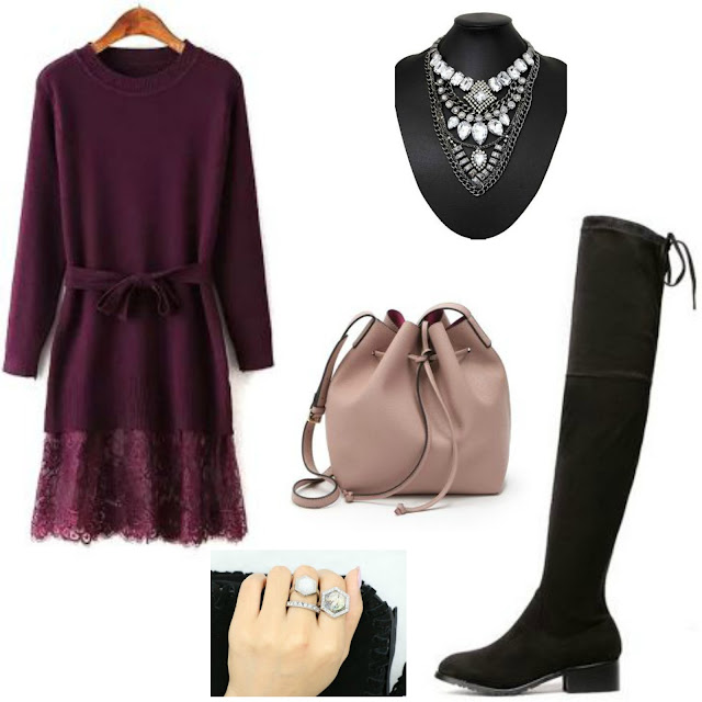 purple sweater dress, OTK boots, blush bucket bag