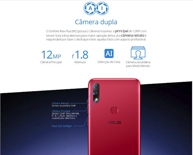 ASUS Zenfone Max Plus M2 Câmera Dupla