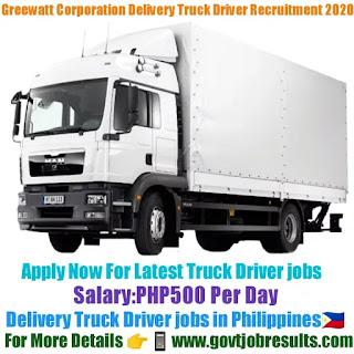Greewatt Corporation Delivery Truck Driver Recruitment 2020-21