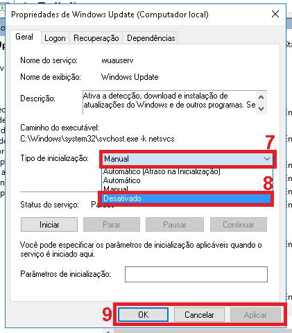 """7 - Clique sobre """"Manual"""" em tipo de inicialização para exibir as outras opções. 8 - Selecione a opção desativado. 9 - Clique em """"Aplicar"""" e em """"Ok""""."""