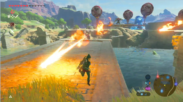 The Legend of Zelda Breath of the Wild sky platforms fire bomb arrows Bokoblins hard mode