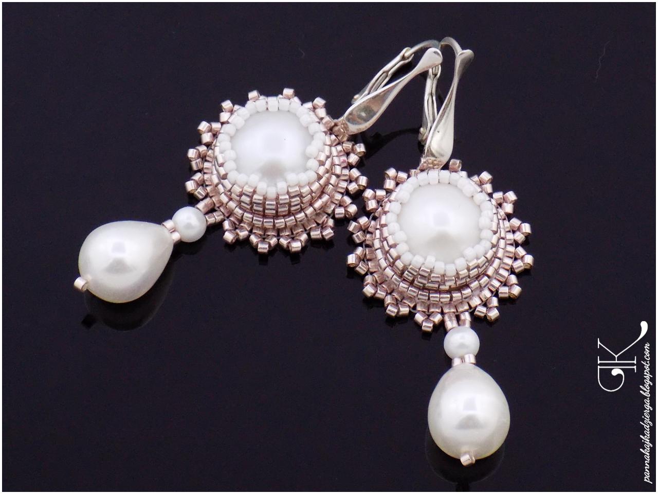perły, biel, koronka, koraliki miyuki, miyuki, rękodzieło, handmade, ślub, kolczyki, spinki do mankietów, pan młody, panna młoda