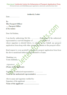 authorization letter to submit indian passport application