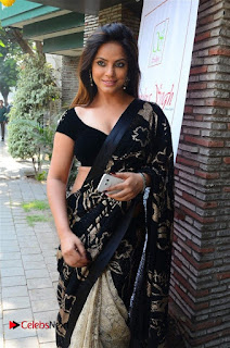 Actress Neetu Chandra Stills in Black Saree at Designer Sandhya Singh's Store Launch  0013.jpg