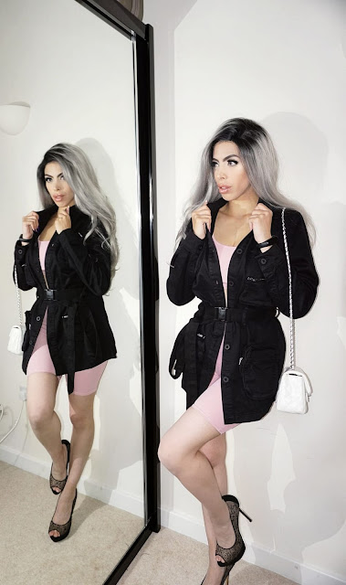 The Femme Luxe Black Long Sleeve Belted Utility Cargo Jacket - Abril by Femme Luxe