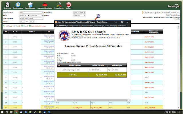 Virtual Account Bill Variable JIBAS Keuangan