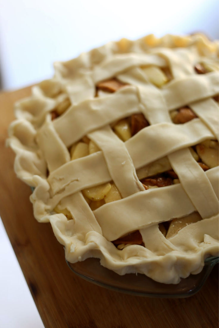 triple apple pie ready to bake
