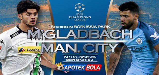 Prediksi Pertandingan Borussia Monchengladbach vs Manchester City 24 November 2016