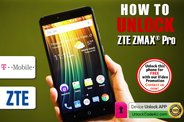 Network unlock ZTE ZMAX Pro locked to T-mobile