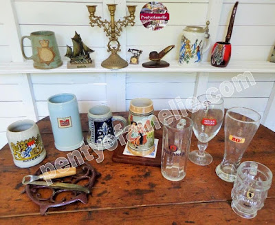 Vintage French Europe Beer Ads Mugs Lidded Steins, Bier Glass Tankards