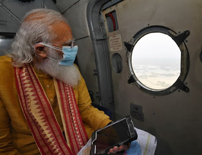 PM narendramodi undertook an aerial survey to review the situation in the wake of Cyclone Yaas.