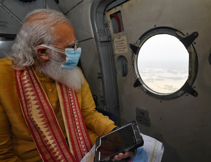 PM Modi undertakes aerial survey of Cyclone Yaas affected areas in West Bengal & Odisha