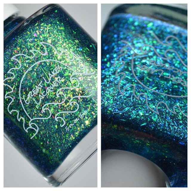 teal flakie nail polish in a bottle