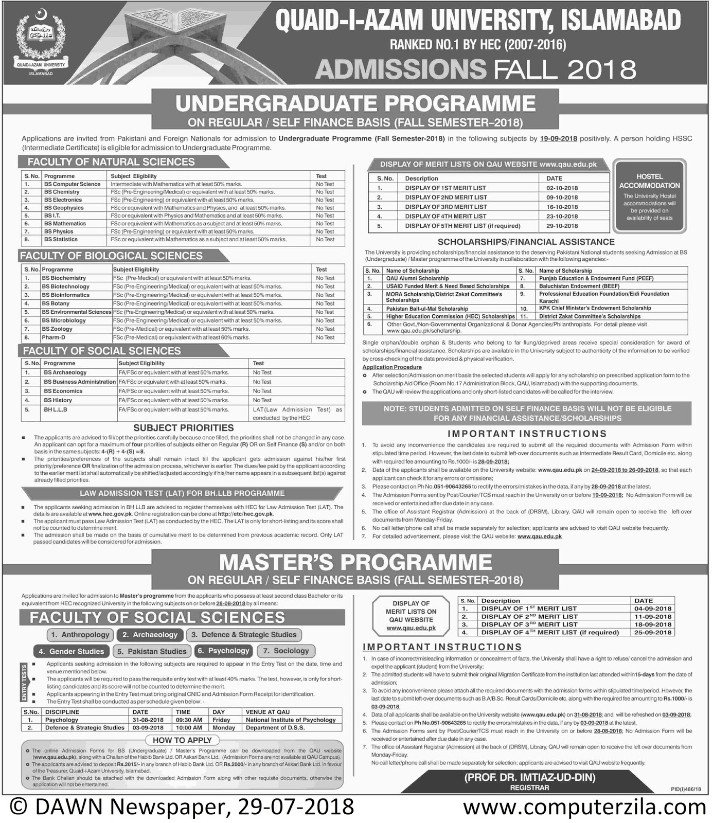 Admissions Open For Fall 2018 At QAU Islamabad Campus