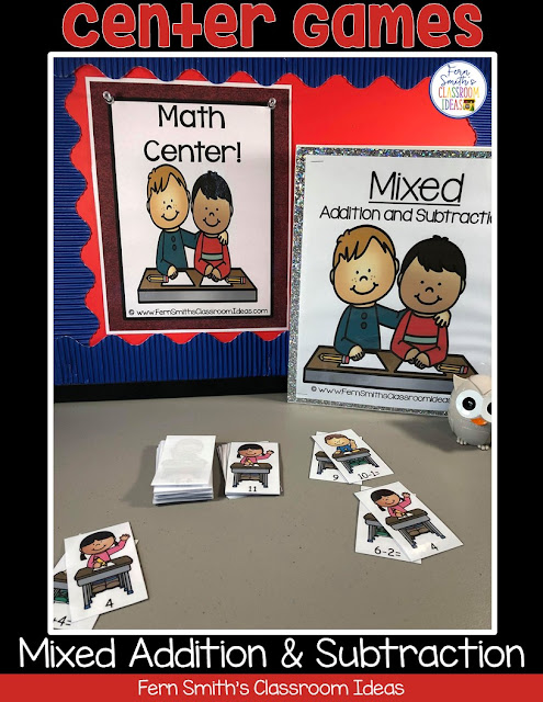 FREE Back to School Mixed Addition and Subtraction Center Games! #FernSmithsClassroomIdeas
