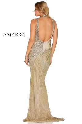 Amarra choker beaded Gold Prom dress back side