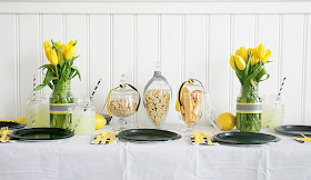 Bee themed brunch for a birthday party or shower.