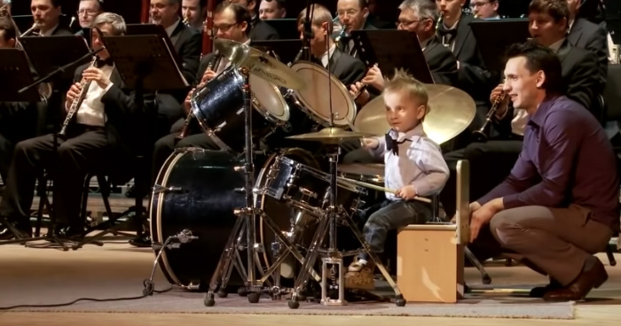 3-Year-Old Russian Drummer Amazes The Internet While He's Leading An Orchestra of Adult Musicians