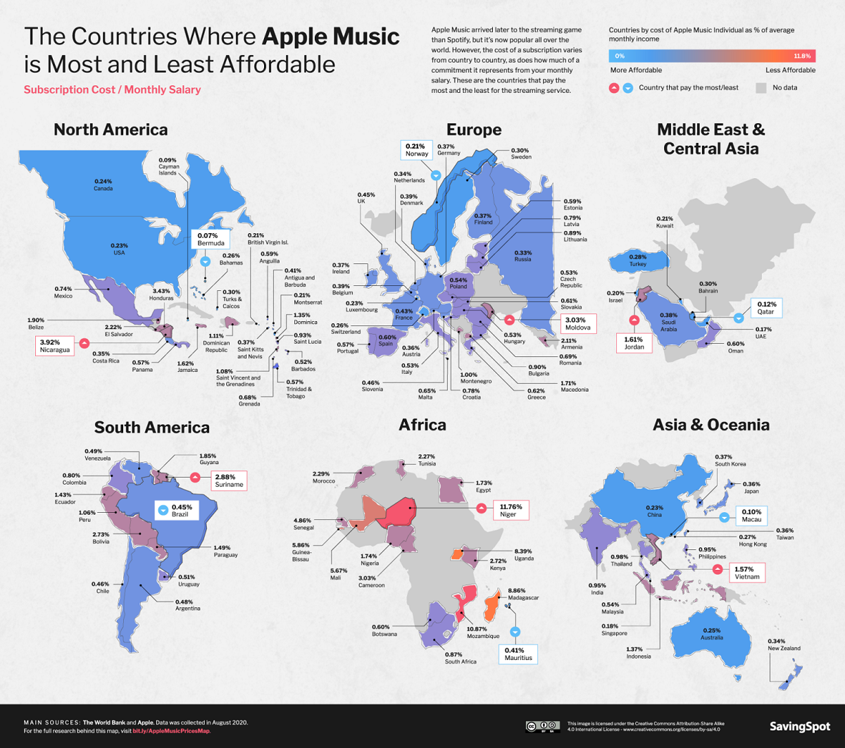 Which Countries Pay the Most and Least for Apple Music? #infographic