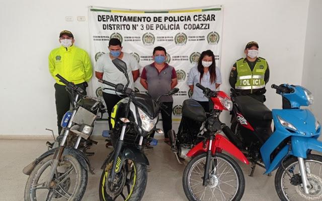 hoyennoticia.com, Cuatro motos recuperadas y tres capturas por batida en La Jagua de Ibirico