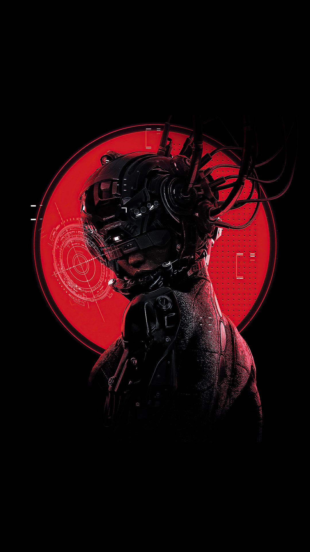 cyberpunk girl oled black wallpaper