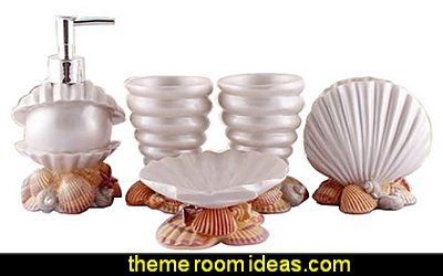Bathroom Accessory Set - Conch And Seashell Design Ensemble,Bathroom Vanities,Home Decor
