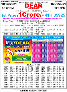Nagaland State Lottery Result Today on 15.06.2021 night 8pm