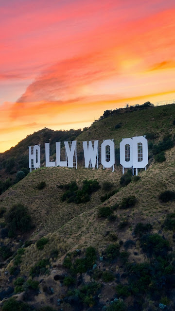 Hollywood, Hill, City, Sunset, Sky, Clouds