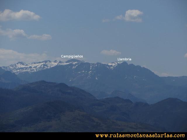 Ruta Ardisana, pico Hibeo: Vista del Campigüeños y la Llambria