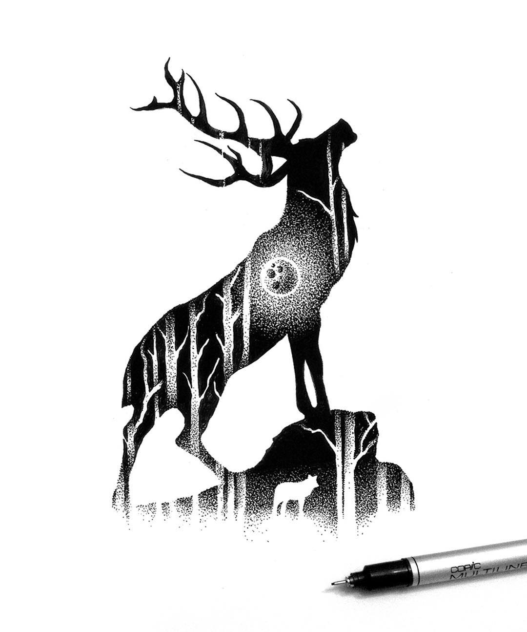 06-Elk-and-the-Forest-Thiago-Bianchini-Eclectic-Collection-of-Drawings-and-Illustrations-www-designstack-co