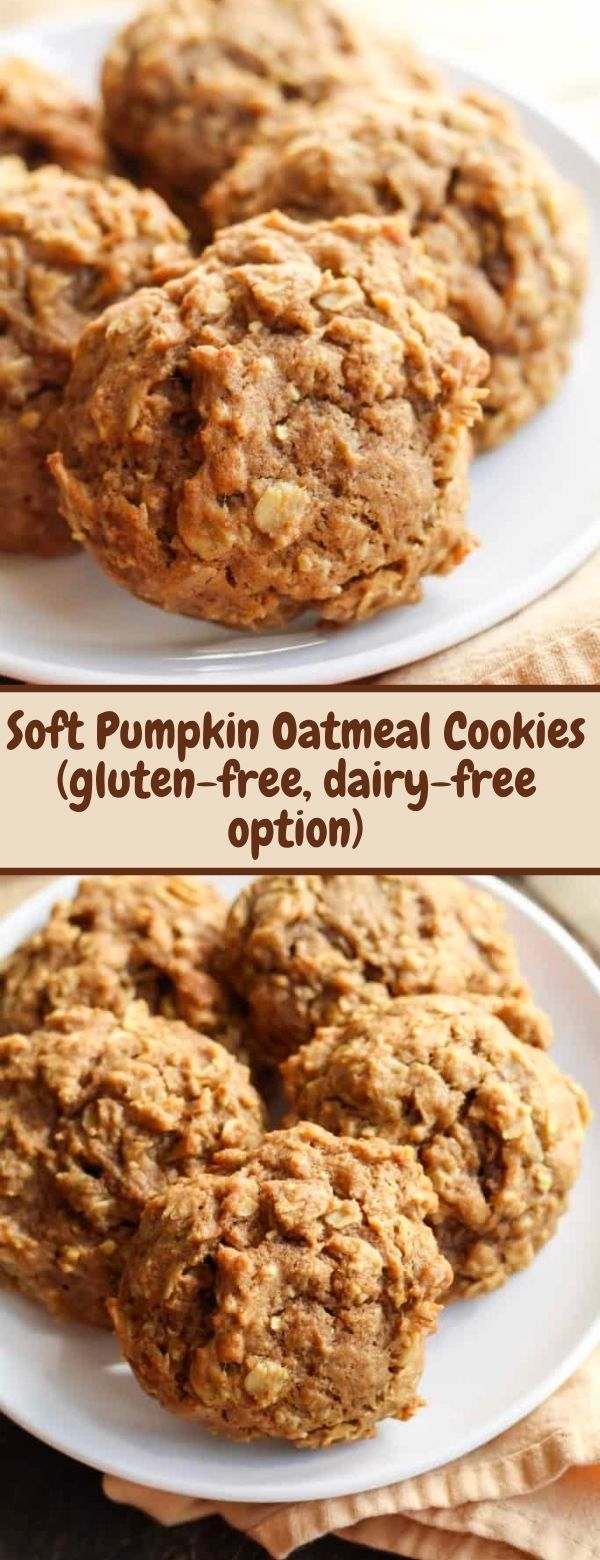 Soft Pumpkin Oatmeal Cookies (gluten-free, dairy-free option)
