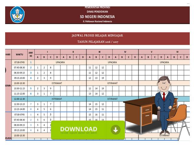 Contoh Jadwal Proses Belajar Mengajar SD