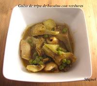 Guiso de tripa de bacalao con verduras