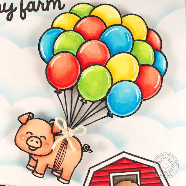 Sunny Studio Stamps: Barnyard Buddies Funny Farm Bouquet Of Balloons Card by Amy Yang
