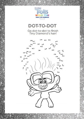 Trolls dot to dot tiny diamond's hair activity sheet 2