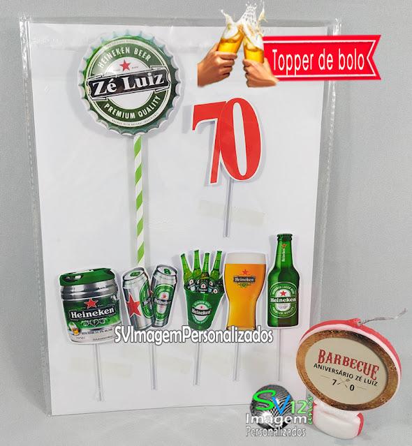 Heineken Festa Boteco dica decoração , os preços mais baratos para personalizados topper para bolo