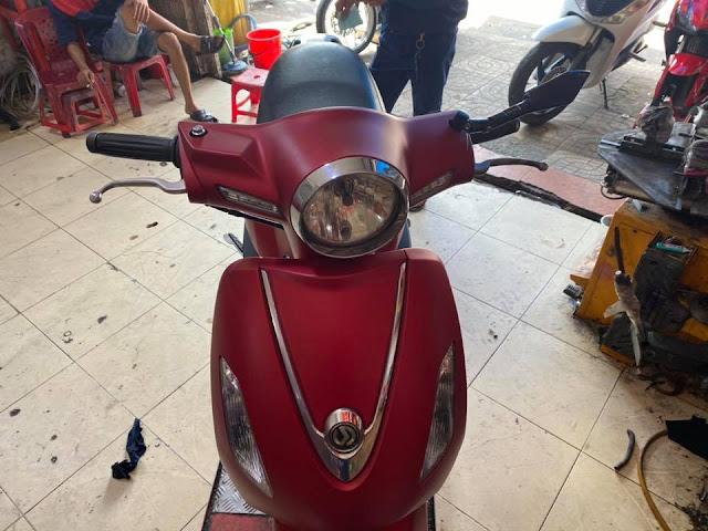 Mẫu sơn xe máy SYM Attila màu đỏ đô nhám cực đẹp