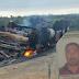 Homem morre carbonizado, em caminhão que capotou e incendiou no município de Saúde