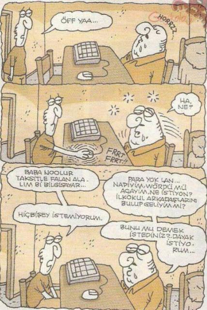 baba bilgisayar karikatür