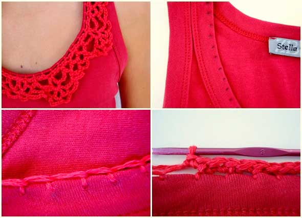 cuello, crochet, ganchillo, camisetas, customizar, bricomoda, tejer