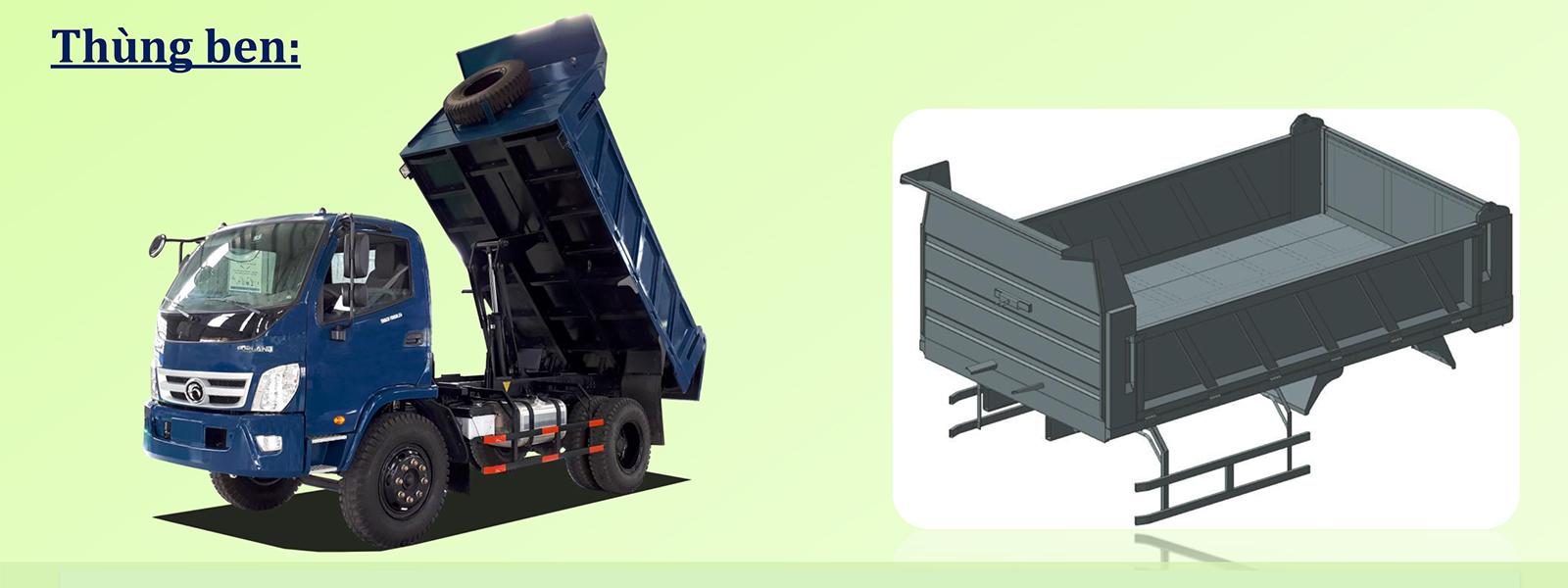 Thùng ben Thaco FD650 Kiểu thùng vuông có kết cấu chịu tải đến 15 tấn