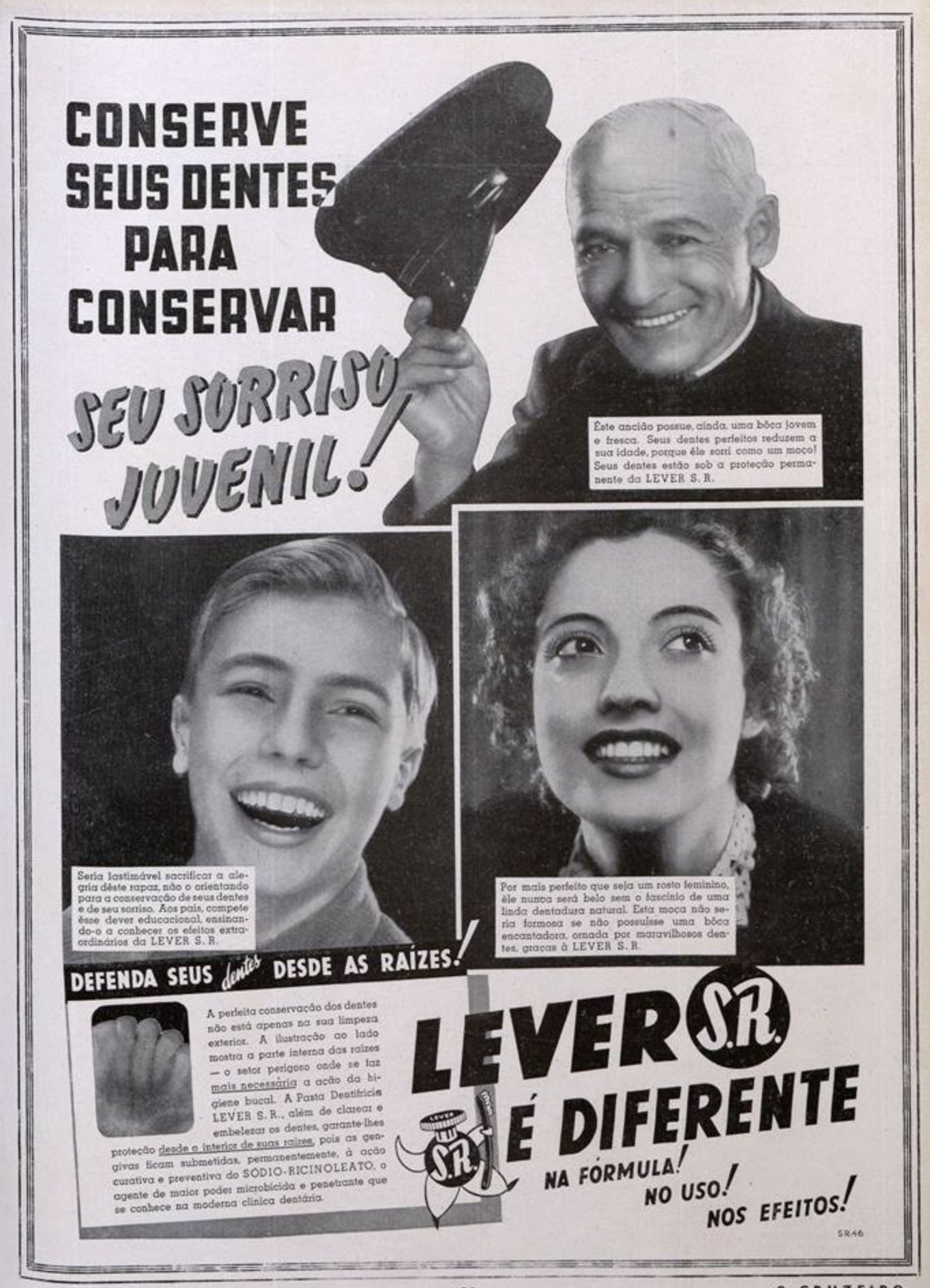 Anúncio antigo de 1938 promovendo o Creme Dental Lever para todas as idades