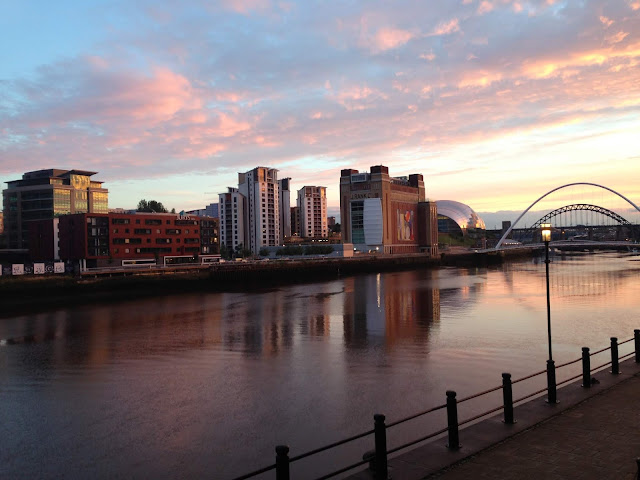 Things to do on Newcastle Quayside- sunset Quayside view