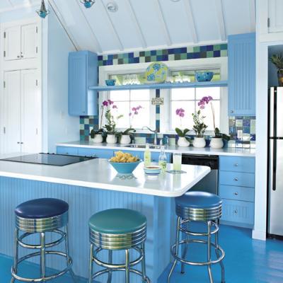 Stephanie Space Deco Cuisine Couleur Blanc Et Bleu Ciel Moderne
