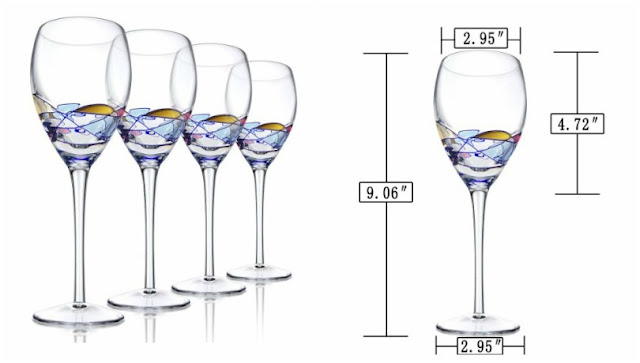 Ludan Hand Painted Crystal Wine Glasses Set of 4 $40 (reg $90)